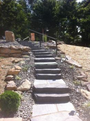 Quarry stone steps, handrail, and border