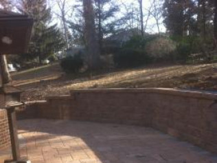 New patio and retaining wall