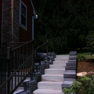Steps with railing and handrail installation